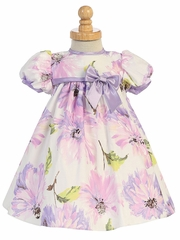 Lilac Cotton Floral Print Baby Dress w/ Cap Sleeve