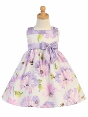 Lilac Cotton Floral Print Dress