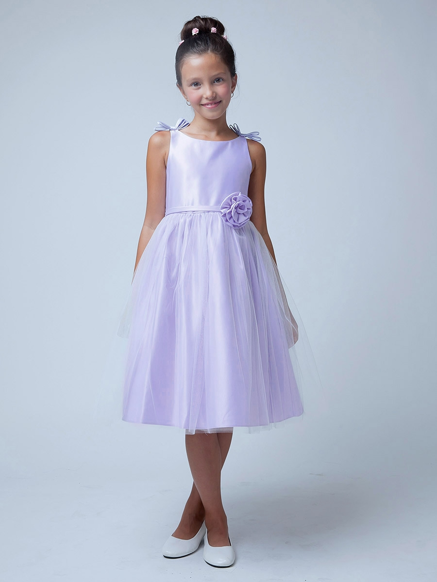Lilac Double Bow Satin Amp Tulle Dress