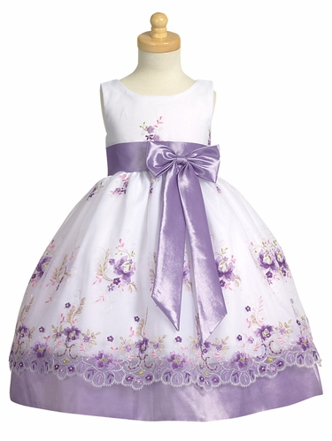 Lilac Embroidered Organza Dress w/ Taffeta Waistband & Bow