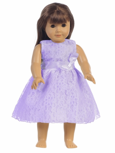 "Lilac Embroidered Tulle Dress w/ Bow 18"" Doll Dress"