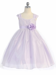 CLEARANCE - Lilac Empire Waist Tulle Dress w/ Poly Silk Sleeve & Sash