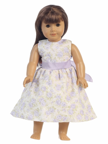 "Lilac Floral Dress w/ Sash 18"" Doll Dress"