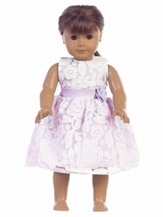 "Lilac Floral Embossed Lace 18"" Doll Dress"