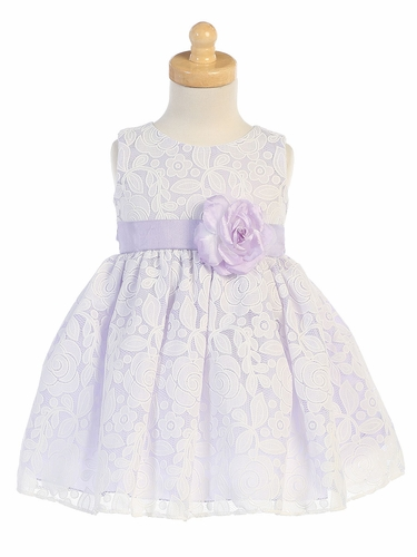 Lilac Floral Embossed Lace Dress