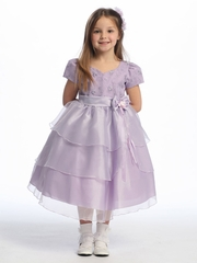 Lilac Flower Girl Dress - Embroidered Organza Layered