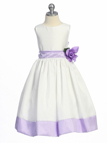 Lilac Flower Girl Dress - Sleeveless Shantung w/ Sash