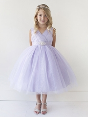 Lilac Glitter V Neck Tulle Dress w/ Rhinestone Brooch