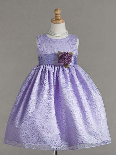 Lilac Lace Pattern Dress w/Polysilk Sash & Flower