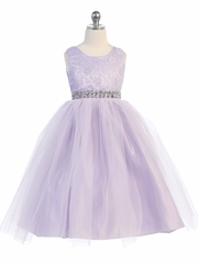 Lilac Lace & Tulle Dress w/ Rhinestone Belt