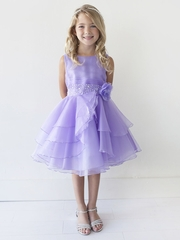 Lilac Organza Layered Dress w/ Crystal Beading