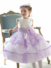 CLEARANCE - Lilac Organza Layered Dress w/ Flower & Sash