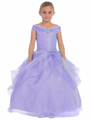 Lilac Organza Off The Shoulder Gown