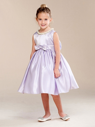 Lilac Pearl Neckline Flower Girl Dress w/ Bow