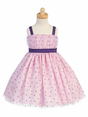 Lilac/Pink Valentine Tulle Dress w/ Glittered Hearts Design
