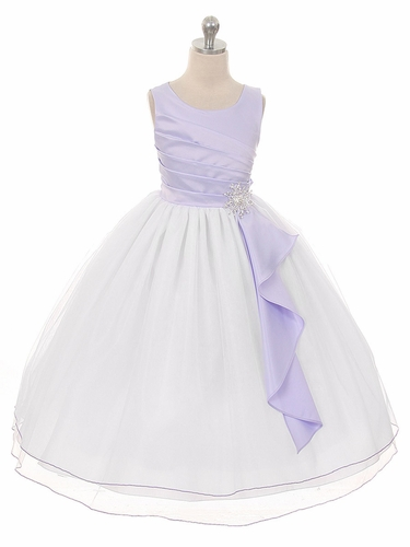 Lilac Pleated Bodice w/ Double Layer Skirt Dress