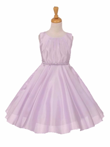 Lilac Pleated Satin Scoop Neck Dress w/ Rhinestone Belt