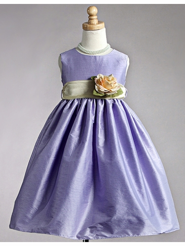 Lilac Polyester Dupioni Dress w/ Yellow Organza Sash