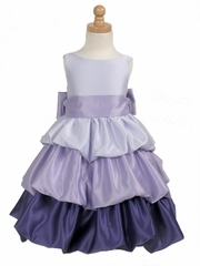 Lilac/Purple Tri-Color Layered Satin Bubble Dress