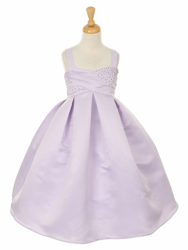 Lilac Satin Dress w/ Rhinestone Accents