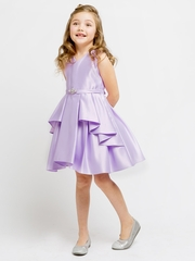 Lilac Satin Sleeveless V-Neck Dress w/ Ruffles