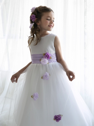 Lilac Satin Tulle Dress w/ Sash & Floating Flowers