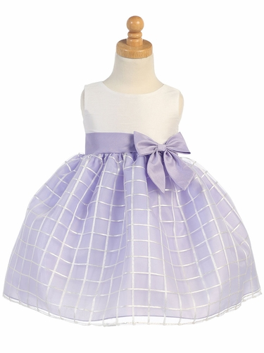Lilac Shantung & Organza Dress w/ Bow