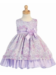 Lilac Sleeveless Floral Tencel Burnout Organza Dress Dress