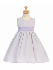 Lilac/White Striped Cotton Seersucker Dress