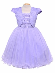 CLEARANCE - Lilac Tulle & Pearl Sleeveless Dress w/ Bolero
