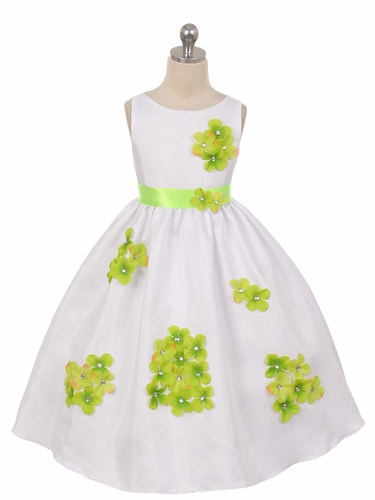 Lime Green Flower Petal Shantung Dress