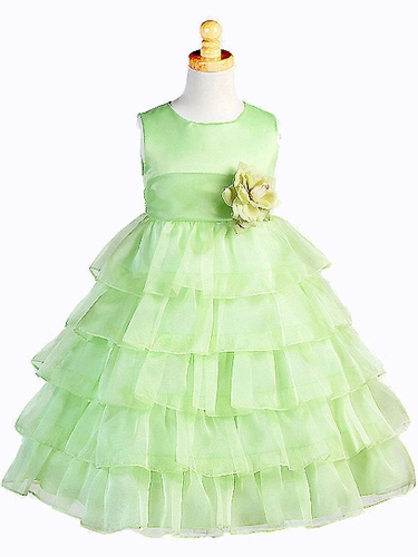 Lime Organza Layered Dress