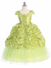 Lime Taffeta Embroidered Cinderella Dress