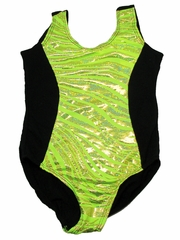 Lime Zebra Metallic Leotard