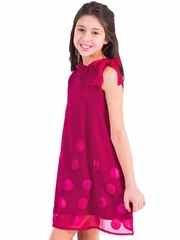 Limeapple Royal Couture Magenta Valencia Chiffon Dress