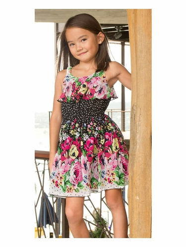 Lipstik Girls Chiffon Floral Print Dress