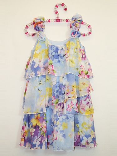 Lipstik Girls Chiffon Floral Tier Dress