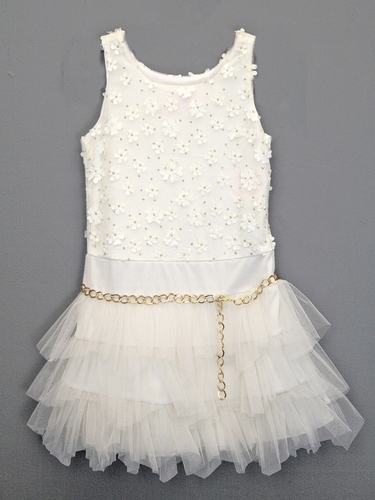 Lipstik Girls Ivory Sequins Tutu Dress