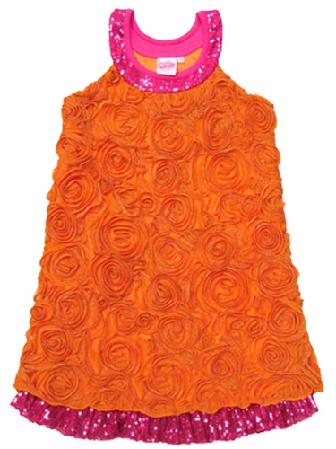 Lipstik Girls Orange Rosebud Embroidered Mesh Dress