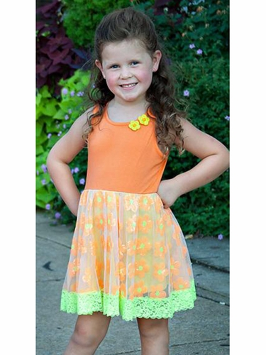Lipstik Girls Orange Sequins & Knit Flower Dress