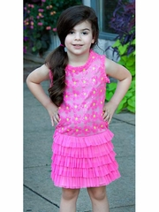 Lipstik Girls Pink Sequin Knit Dress w/ Ruffles