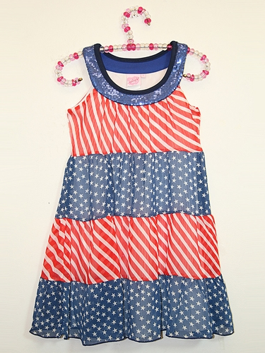 Lipstik Girls Stars & Stripes Chiffon Layered Dress