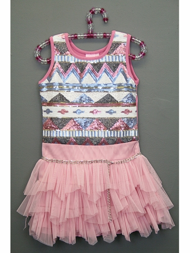 Lipstik Girls Tribal Sequins Tutu Dress