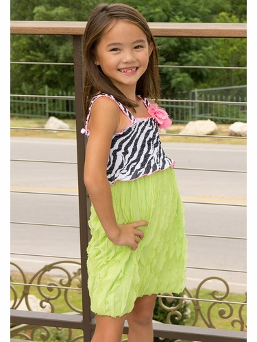Lipstik Girls Zebra & Lime Ruffle Dress