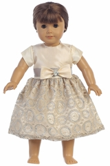 Swea Pea & Lilli C509 Champagne Taffeta & Lace 18in� Doll Dress