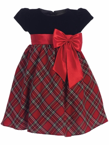 Swea Pea & Lilli C510 Velvet & Plaid Dress