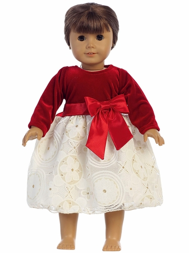 Lito C511 Red Stretch Velvet & Embossed Lace w/ Gold Glitter Doll Dress