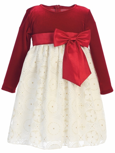 Lito C511 Red Stretch Velvet & Embossed Lace w/ Gold Glitter Dress