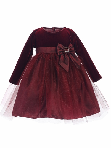 Burgundy Stretch Velvet w/ Glitter Tulle & Bow Dress