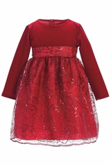 Swea Pea & Lilli Red C514 Stretch Velvet & Corded Sequins Dress